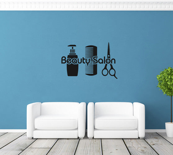 ik1843 Wall Decal Sticker hairbrush haircut hairdresser scissors beauty salon