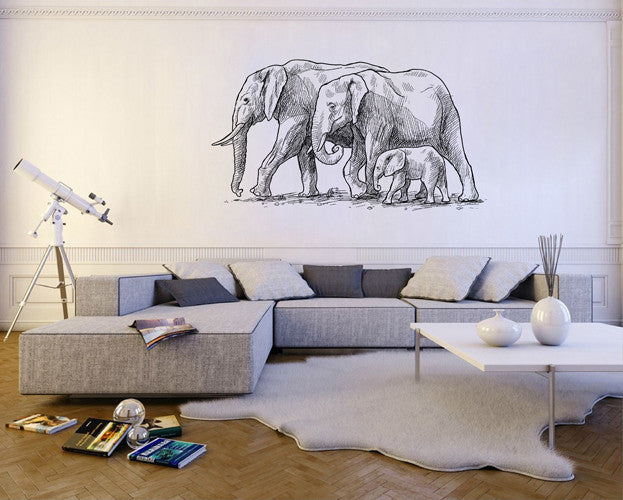 ik1851 Wall Decal Sticker Family  elephants Africa animals living room bedroom
