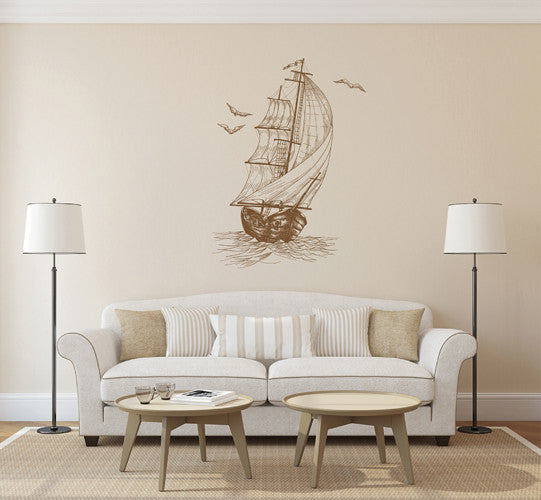 ik1877 Wall Decal Sticker ship frigate old retro living room bedroom children