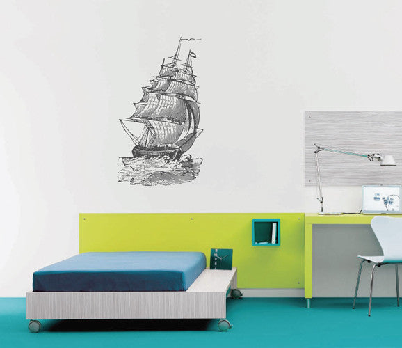 ik1881 Wall Decal Sticker ship frigate old retro living room bedroom children