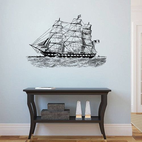 ik1883 Wall Decal Sticker ship frigate old retro living room bedroom children