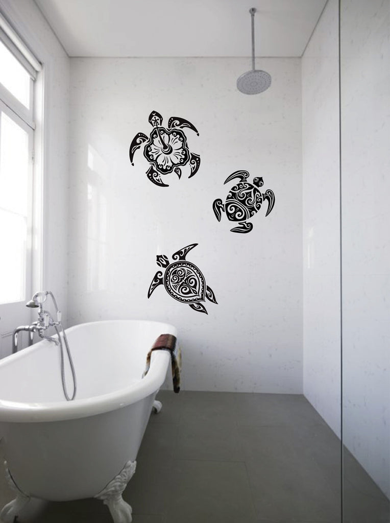 ik1892 Wall Decal Sticker sea turtle tattoo style bathroom living room