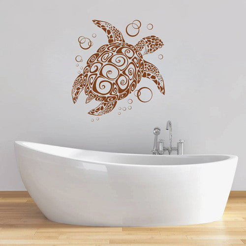 ik1893 Wall Decal Sticker sea turtle tattoo style bathroom living room