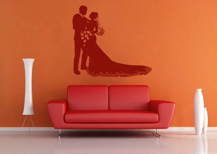 ik1916 Wall Decal Sticker the bride and groom wedding dress bridal