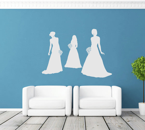 ik1917 Wall Decal Sticker flowers bride wedding dress bridal shop