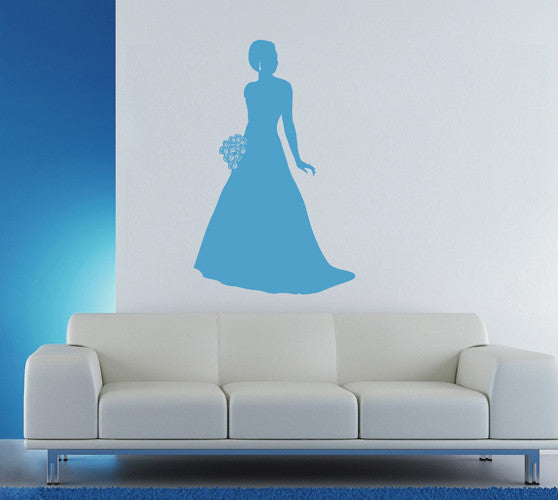 ik1918 Wall Decal Sticker flowers bride wedding dress bridal shop