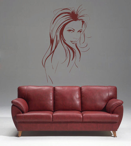 ik1926 Wall Decal Sticker face makeup girl hairdressing salon