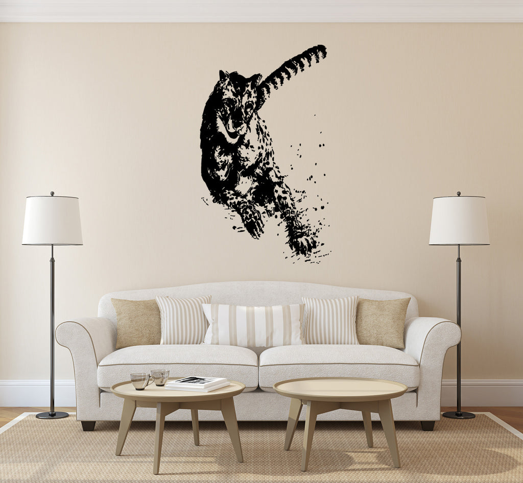ik193 Wall Decal Sticker Decor running cheetah cat sprinter animal predator