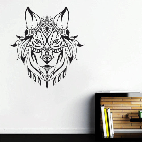 ik1981 Wall Decal Sticker wolf animal ethnic Indian motifs living room bedroom