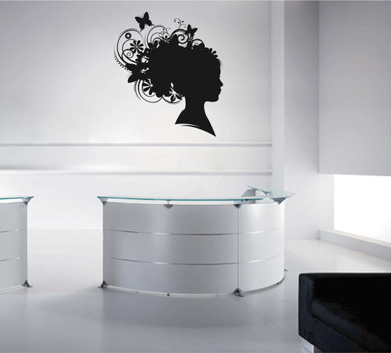 ik1982 Wall Decal Sticker abstract woman profile hairdo hairdressing salon hall