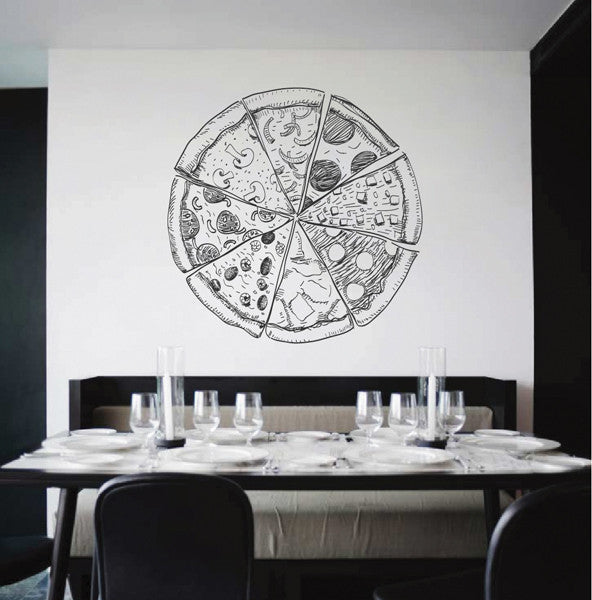 ik2009 Wall Decal Sticker different pizzas food Italian restaurant pizzeria