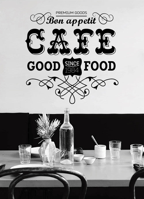 ik2017 Wall Decal Sticker inscription letters good food cafe