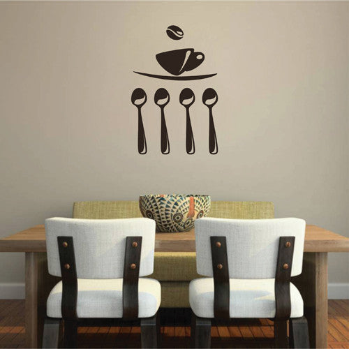 ik2029 Wall Decal Sticker tea cup coffee drink kitchen spoon restaurant shop