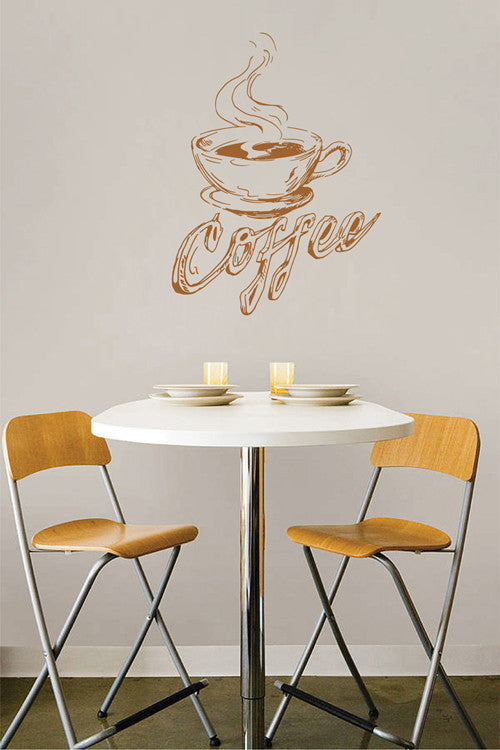 ik2040 Wall Decal Sticker coffee cup coffee house letter restaurant kitchen