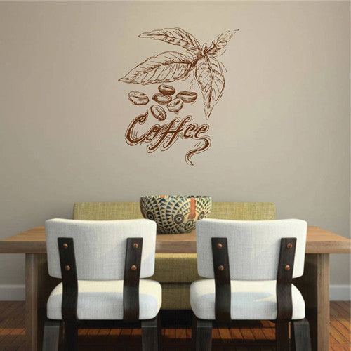 ik2042 Wall Decal Sticker coffee beans letter coffeehouse restaurant kitchen