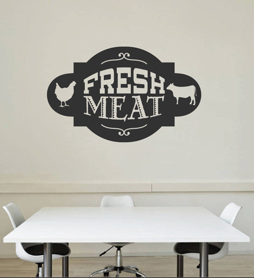 ik2053 Wall Decal Sticker beef chicken fresh meat snack restaurant cafe