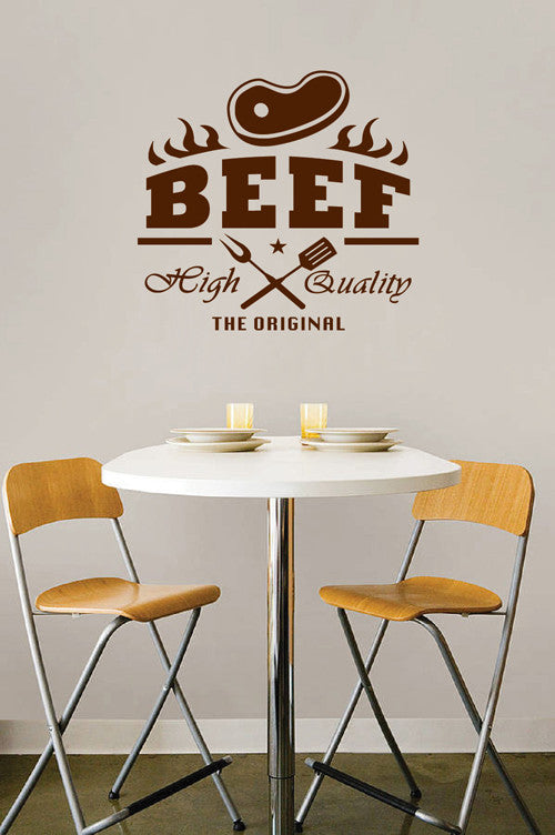 ik2054 Wall Decal Sticker Beef quality original snack restaurant cafe