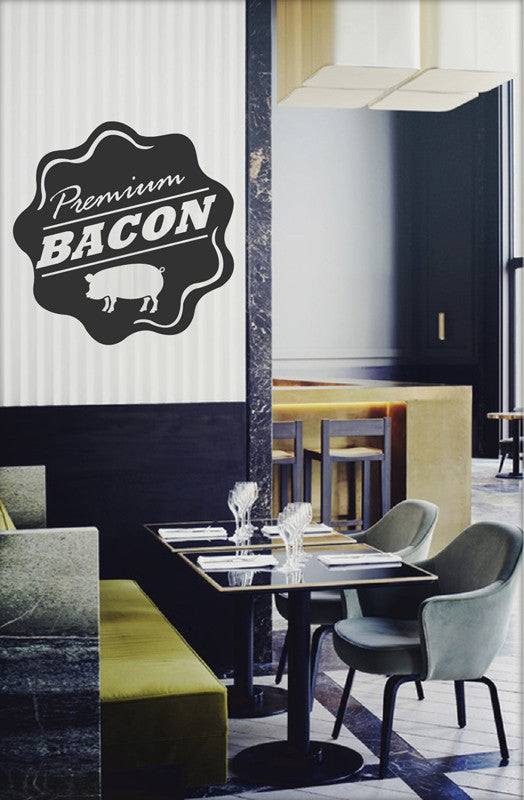 ik2059 Wall Decal Sticker premium bacon pig snack restaurant cafe