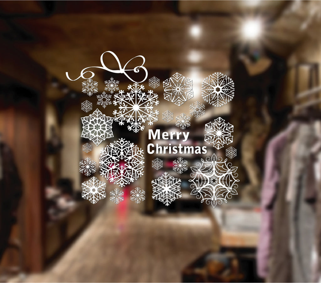 ik2076 Wall Decal Sticker snowflakes wishes Merry Christmas shop window shop