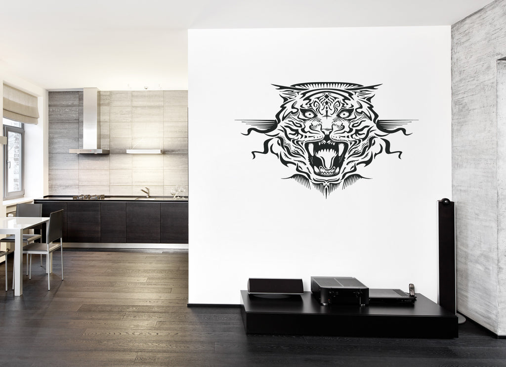 ik207 Wall Decal Sticker Decor growling tiger animal predator interior