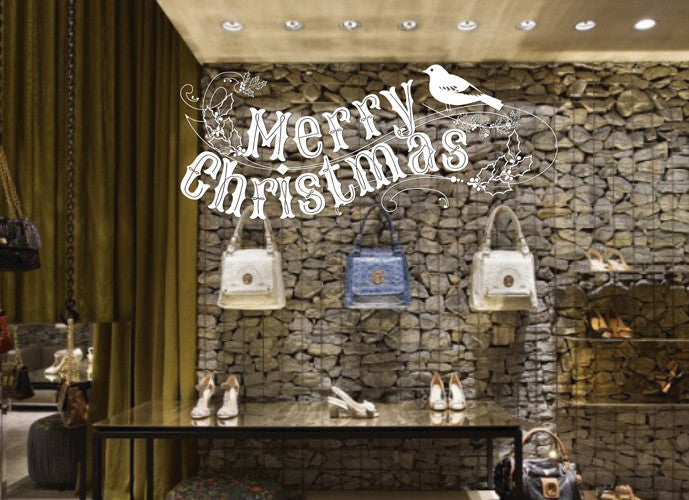 ik2086 Wall Decal Sticker wishes Merry Christmas shop window shop