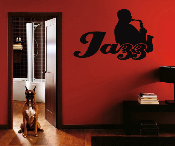 ik208 Wall Decal Sticker Decor jazz sax man playing saxophone music musician