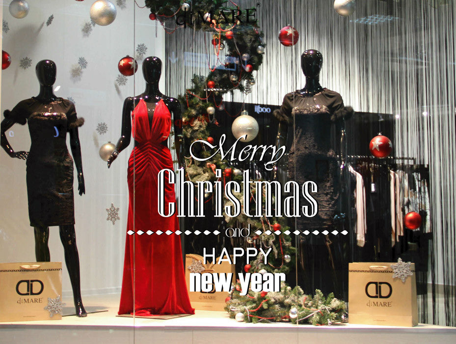 ik2090 Wall Decal Sticker wishes happy new year Merry Christmas shop window
