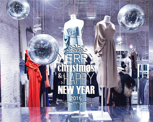ik2093 Wall Decal Sticker wishes happy new year Merry Christmas shop window