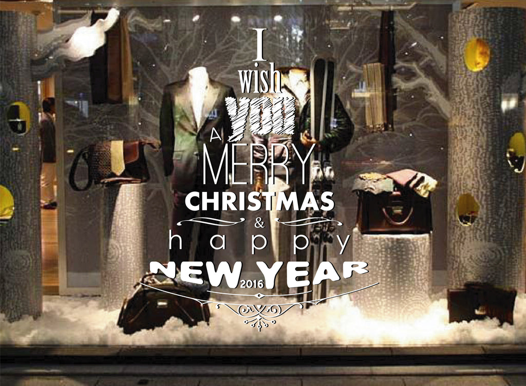 ik2094 Wall Decal Sticker wishes happy new year Merry Christmas shop window