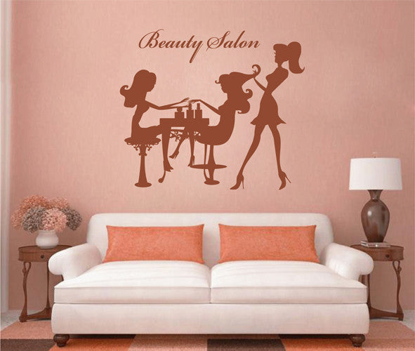 ik2109 Wall Decal Sticker manicurist barber girl beauty salon