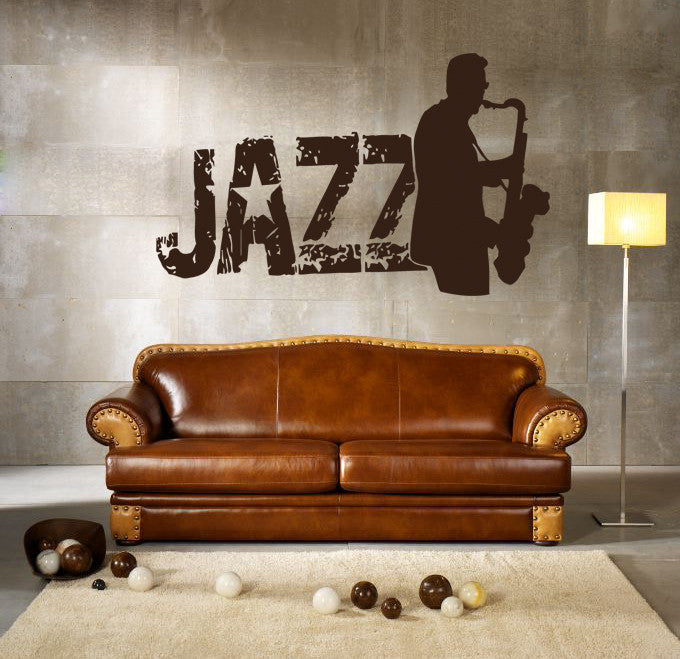 ik210 Wall Decal Sticker Decor jazz sax man playing saxophone music musician