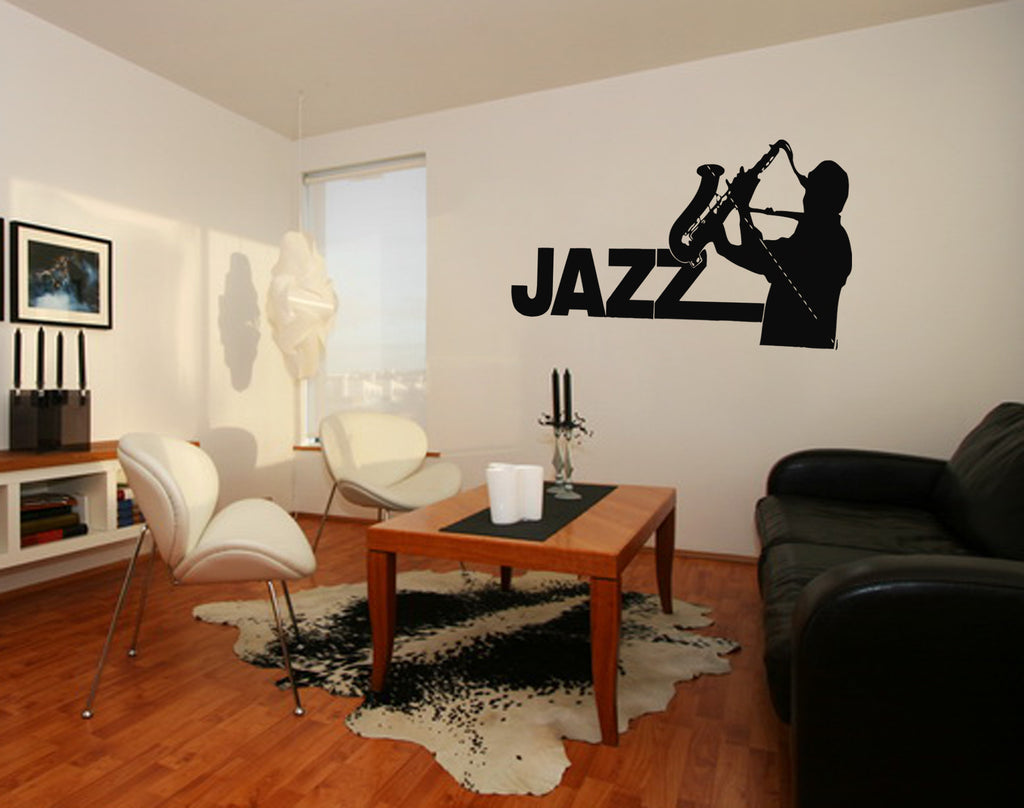ik211 Wall Decal Sticker Decor jazz sax man playing saxophone music musician