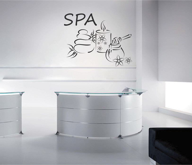 ik2135 Wall Decal Sticker stone candle paraphernalia spa salon