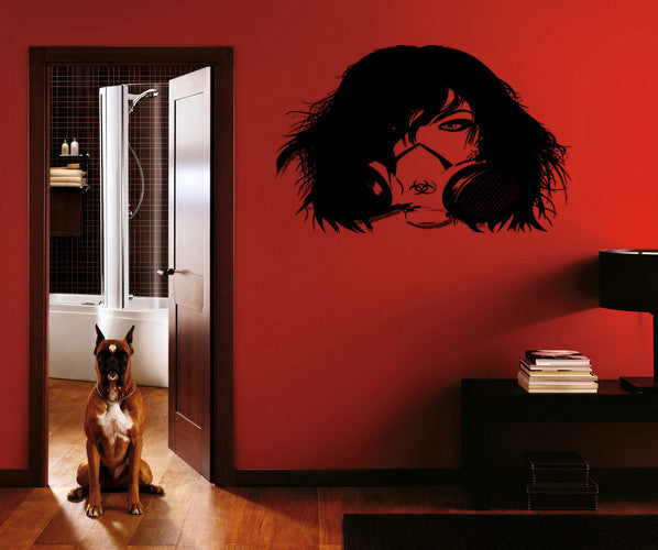 ik218 Wall Decal Sticker Decor girl gas mask apocalypse postapokalipsis world