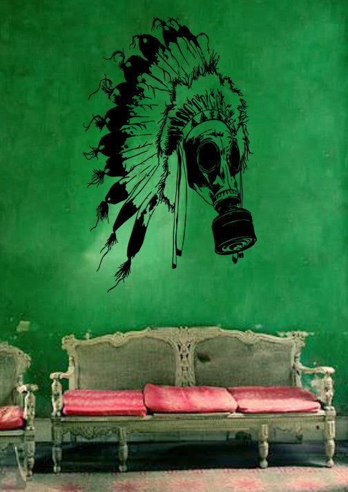 ik219 Wall Decal Sticker Decor mask apocalypse postapokalipsis leader Indian