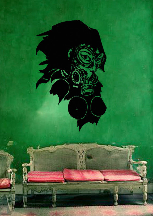 ik220 Wall Decal Sticker Decor girl raspiratore postapokalipsis apocalypse end