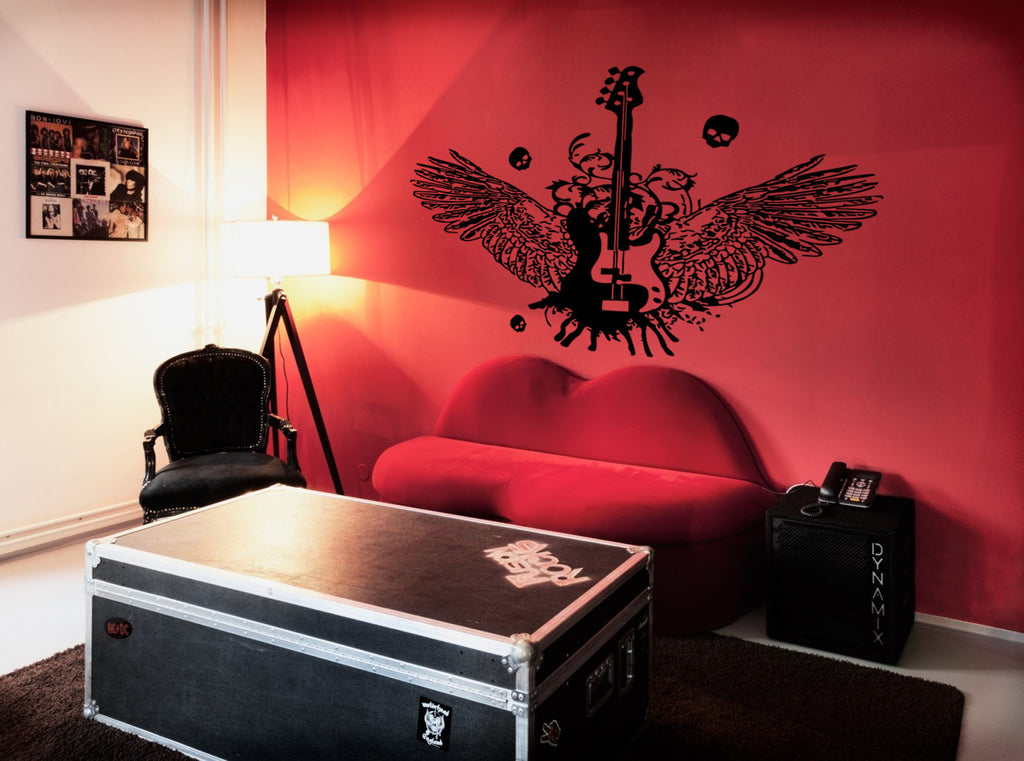 ik222 Wall Decal Sticker Decor bass guitar rock indie music heavy wings skull