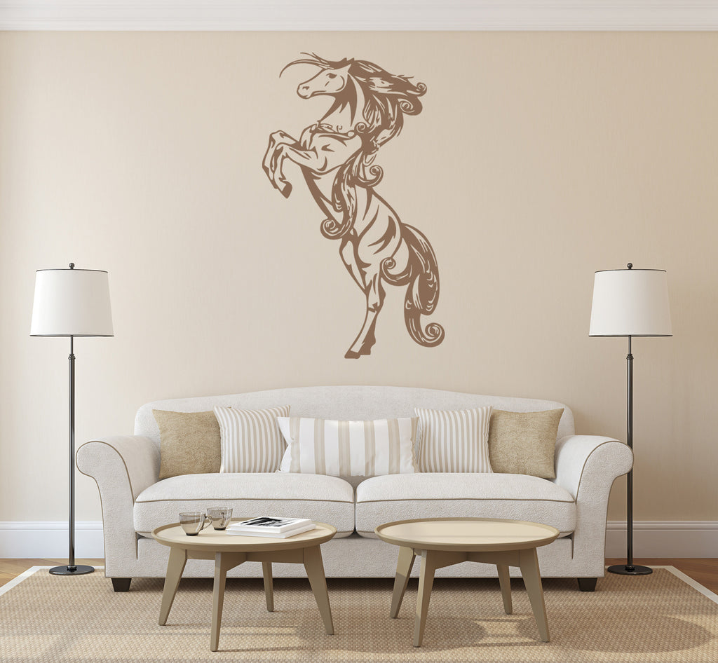 ik223 Wall Decal Sticker Decor Prancing horse animal interior bed
