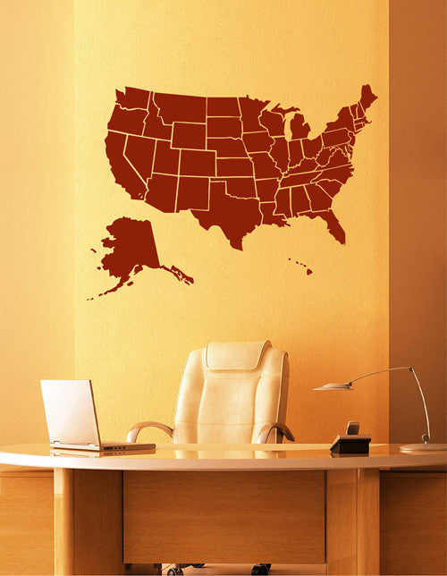 ik2249 Wall Decal Sticker USA Map all states living room bedroom office