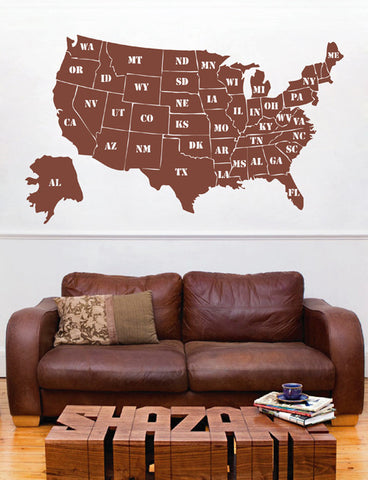 ik2251 Wall Decal Sticker USA Map all states the names lounge bedroom office