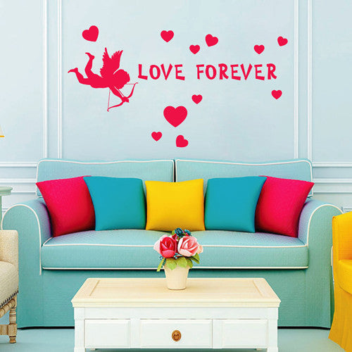 ik2258 Wall Decal Sticker inscription love heart cupid forever living  bedroom