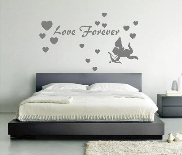 ik2260 Wall Decal Sticker inscription love heart cupid forever living bedroom