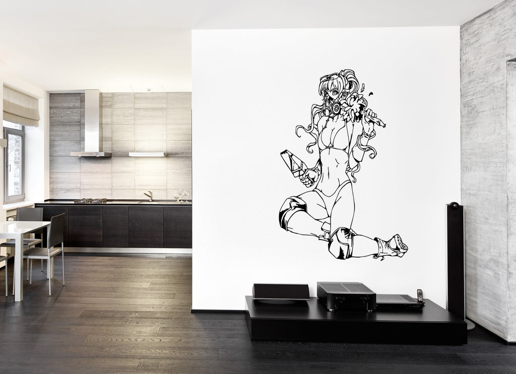 ik228 Wall Decal Sticker Decor girl bikini anime maid interior bed