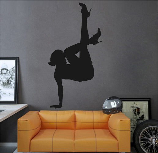 ik2297 Wall Decal Sticker silhouette girl dance pose beautiful bedroom Living Dance Studio