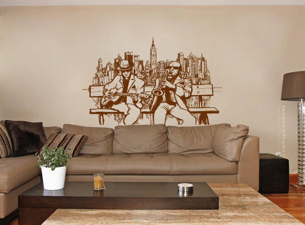 ik230 Wall Decal Sticker Decor jazz musicians guitar lulitse saxophone music