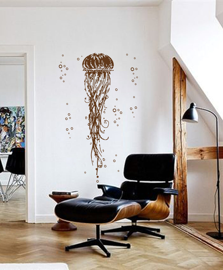 ik233 Wall Decal Sticker Decor cubic jellyfish ocean sea marine animal poison
