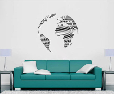 ik2351 Wall Decal Sticker globe map continents living room bedroom office