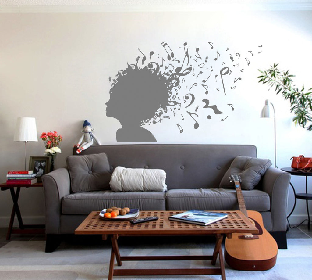 ik240 Wall Decal Sticker Decor girl listening music notes bass song interior