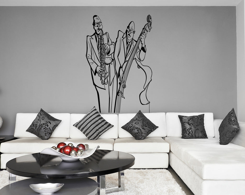 ik242 Wall Decal Sticker Decor jazz musicians bass saxophone music interior