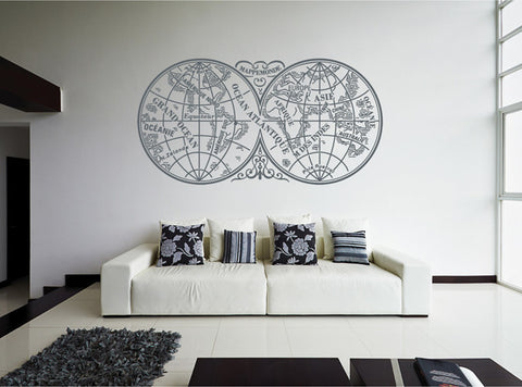 ik2443 Wall Decal Sticker map continents oceans old living room bedroom